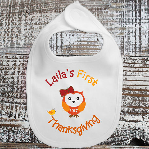 Baby Bib - First Thanksgiving Owl