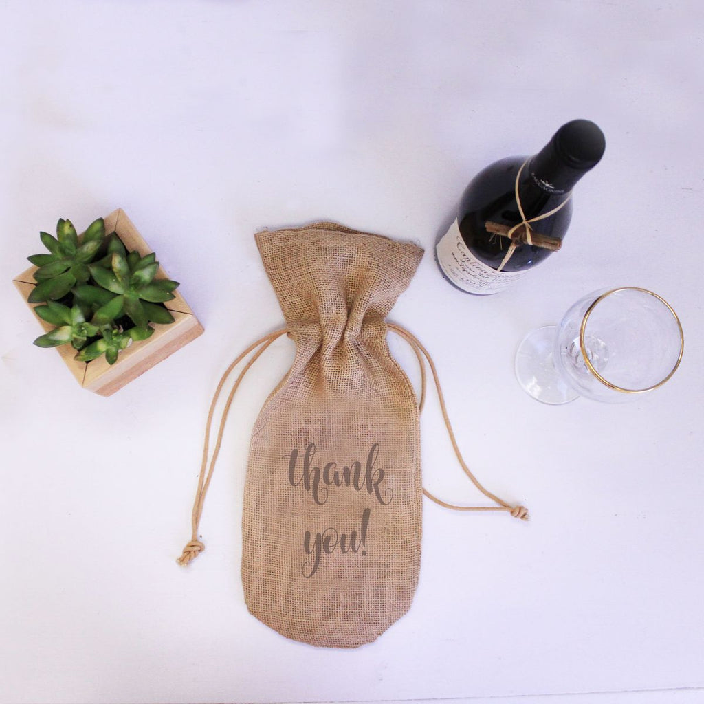 "Burlap Wine Bag - ""Thank You!"""