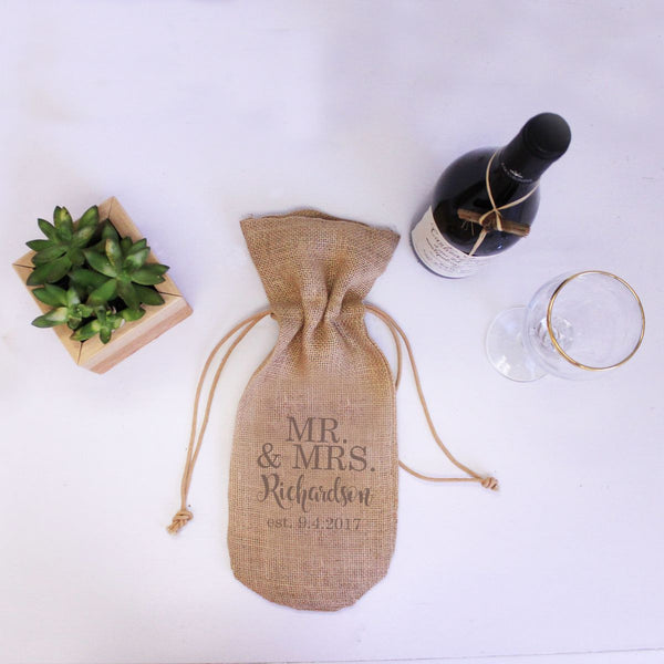 "Burlap Wine Bag - ""Mr. & Mrs. With Established Date"""
