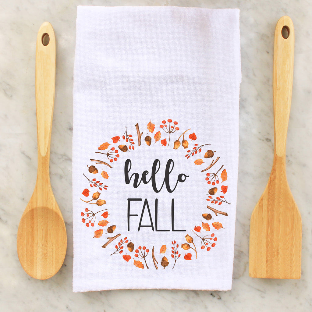 hello fall, autumn, seasonal towel, seasonal towels, kitchen towels, kitchen, decorative towels, Thanksgiving, thanksgiving, personalized towels, personalized towel, custom towel, custom towels, fall, fall towel, fall towels, personalized towel, personalized towels,  personalised towel, personalised towels