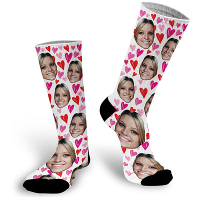 Custom Face Photo Valentines Socks, Face Socks, Valentine Face Socks, Heart Face Socks, Photo Socks. Personalized Picture on a sock. Put your cat, dog, pet, self, loved ones picture on a pair of socks. photo socks are a fun way to showcase a friend, family member, loved one or pet on a sock! Simply, upload a photo and we will do the rest! , Customized Sock, Funny Socks, Socks with Sayings, Gift for Girlfriend, Gift Exchange idea