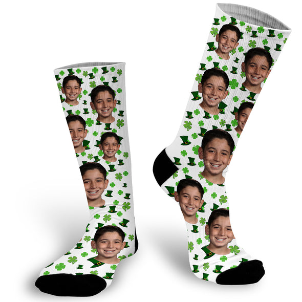 Custom Face Photo St Patrick's Day Socks, Shamrock Photo Socks, Face Socks, Photo Socks, Picture on Sockss