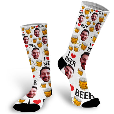 Custom Face Photo I Love Beer Socks, Beer Face Socks, Beer Lover Gift, Face Socks, Picture on Socks, Stocking Stuffer, Secret Santa Gift, Funny Gifts, Co-Worker Gift , Customized Sock, Funny Socks, Socks with Sayings, Gift for Girlfriend, Gift Exchange idea