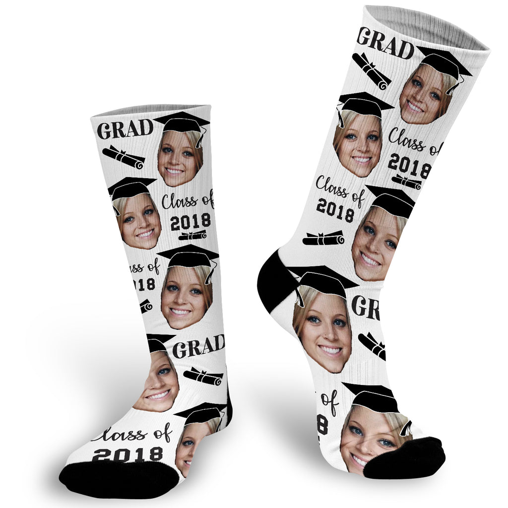 Custom Face Graduation Socks, Photo Sock for Graduation, Graduation Face Photo Sock,