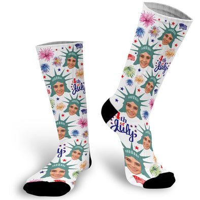 Face Socks for the 4th of July, 4th of July Socks, Fourth of July Socks, Photo Socks, Picture on Socks,