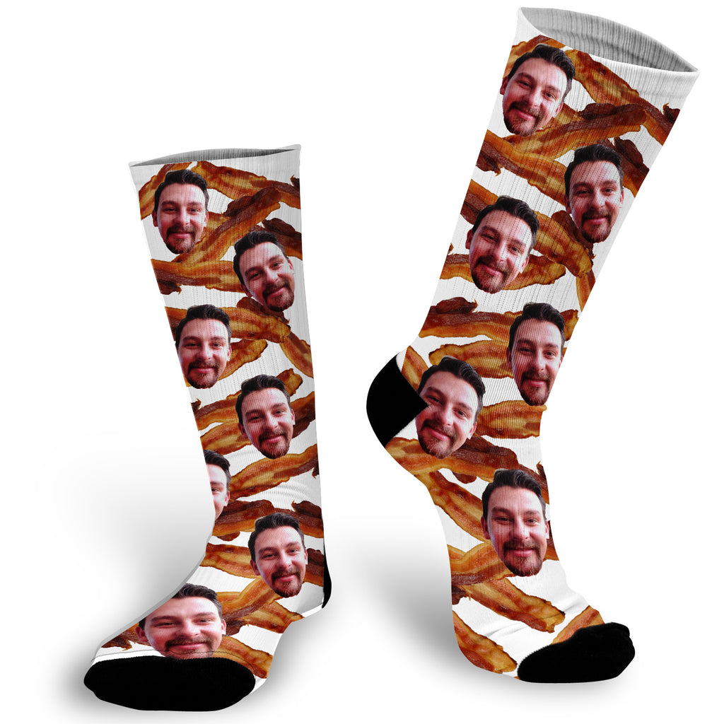 Photo Socks with Bacon, Bacon Photo Socks, Bacon Lover Socks, Face Socks, Picture on Socks,