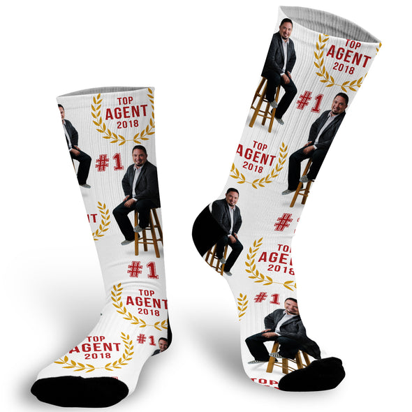 #1 Agent Face Socks, Real Estate Socks, Realtor Socks, Custom Face Socks, Photo Socks