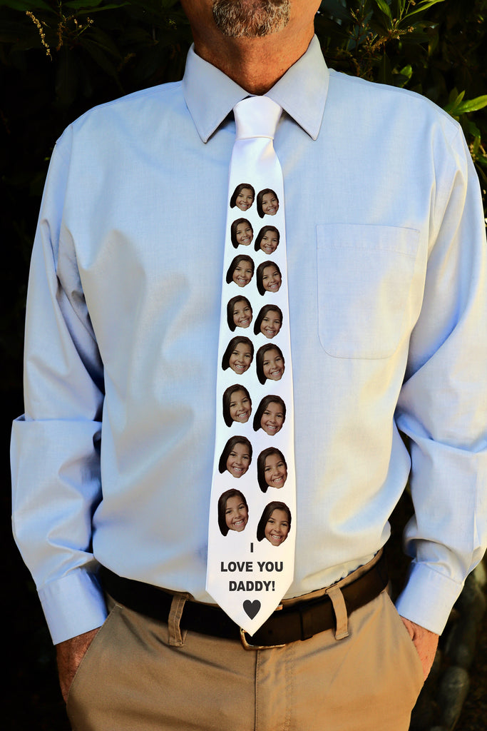 "Photo Tie, Father's Day Tie, Dad Tie, Custom Tie, Personalized Tie ""I Love You Daddy"""