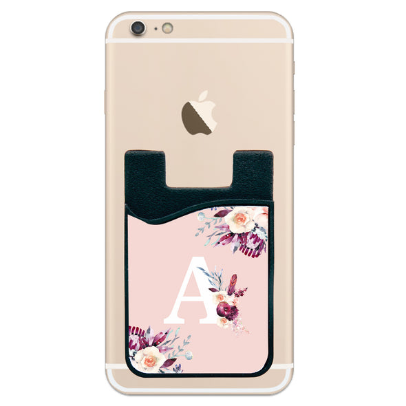 Phone Wallet - Floral Design Initial
