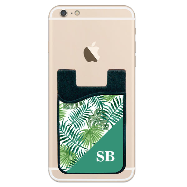Phone Wallet - Green Leafs With Initials
