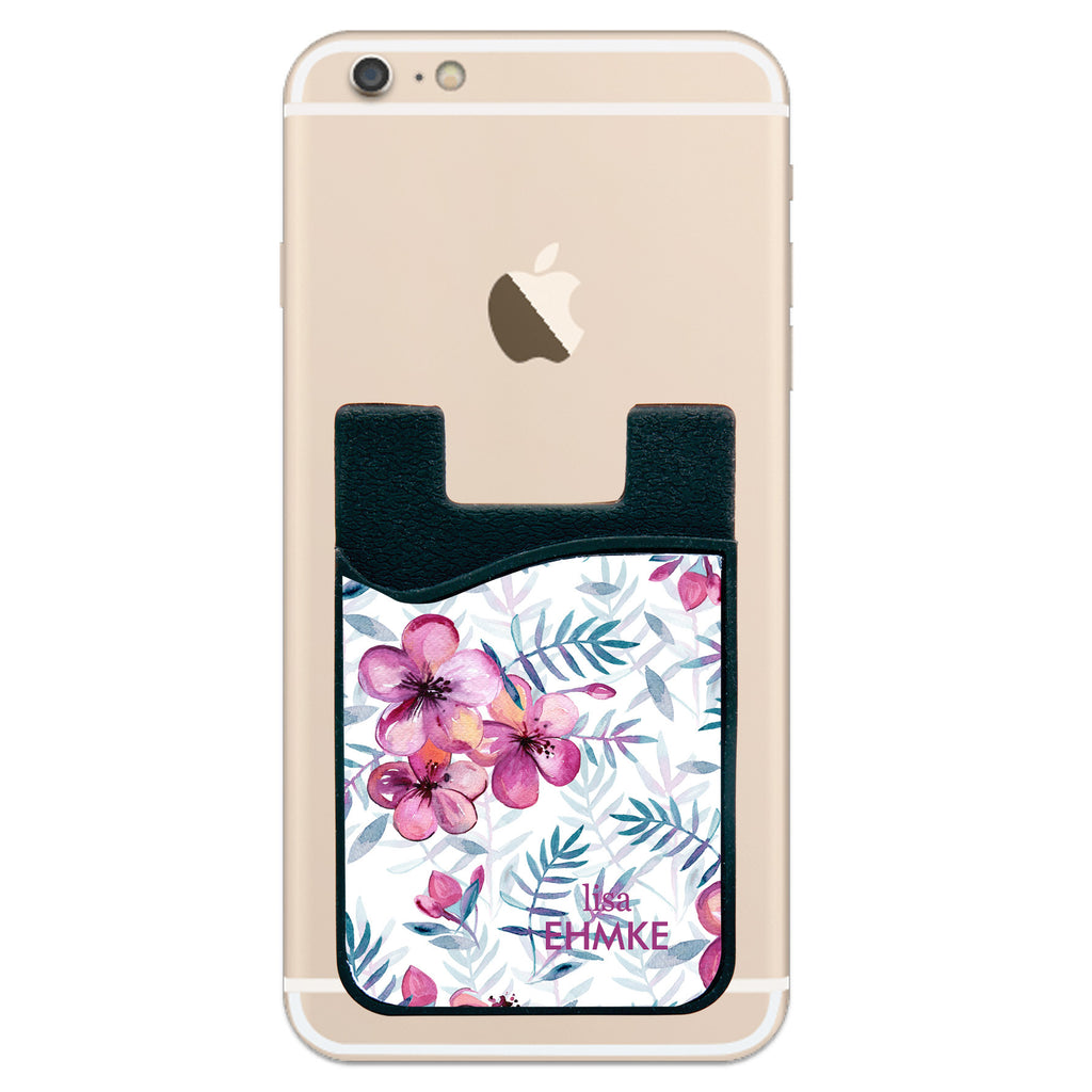 Phone Wallet - Pink Flowers With Last Name
