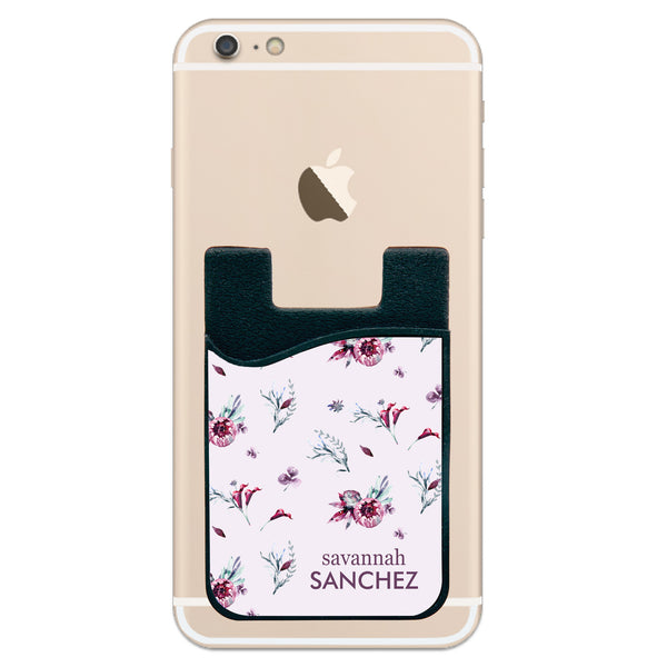 Phone Wallet - Flower Design Full Name