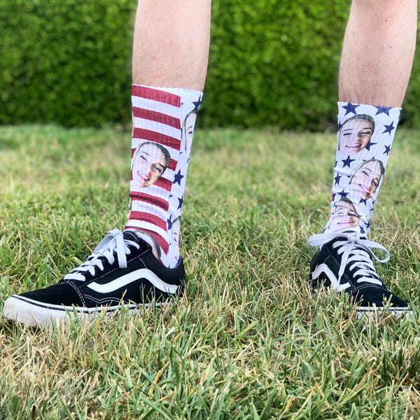 face socks, photo socks, funny socks, 4th of july, silly socks, fun custom socks, personalized socks