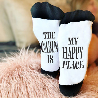 "Funny Socks, Bottom of Sock Sayings, ""The cabin is my happy place"""