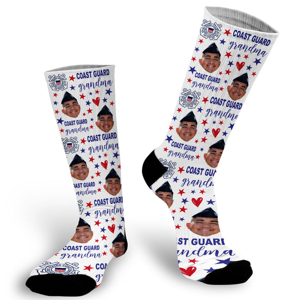 coast guard socks, coast guard grandma, funny face socks, photo face socks, pictures on socks,