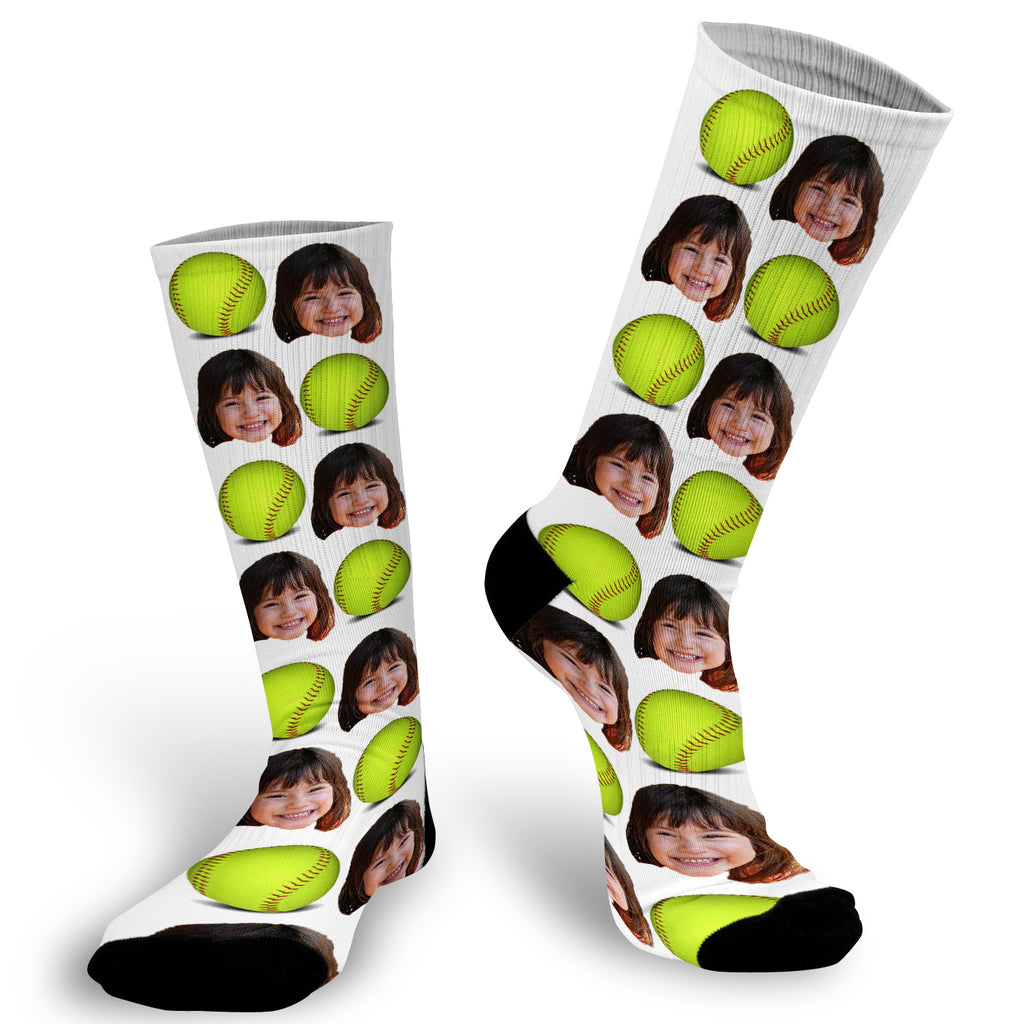 Softball Socks, Softball Player Socks, Photo socks for Softball Player, Softball Player Child Socks, Face Socks, Picture on Socks
