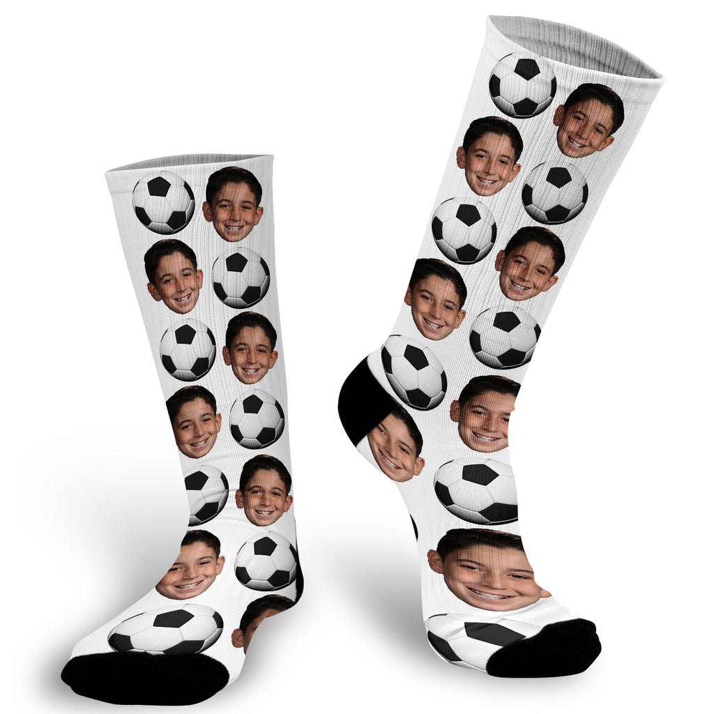 soccer, sports, socks, soccer socks, soccer ball, photo socks, kids sports, fun socks, custom socks, face socks