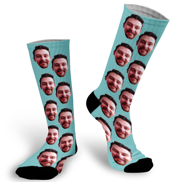 Light Blue background with face Socks, Photo with Light Blue background socks, Fun Face Socks, Face Socks, Picture on Light Blue Socks