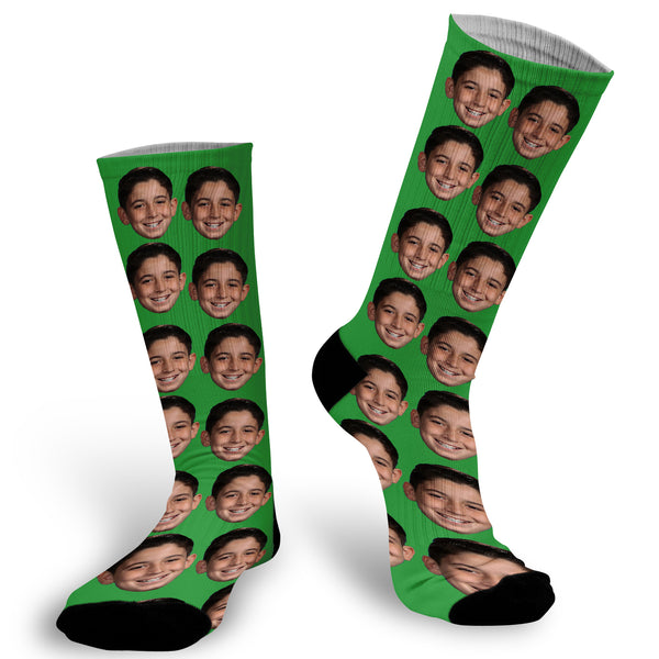 Green background with face Socks, Photo with Green background socks, Fun Face Socks, Face Socks, Picture on Green Socks