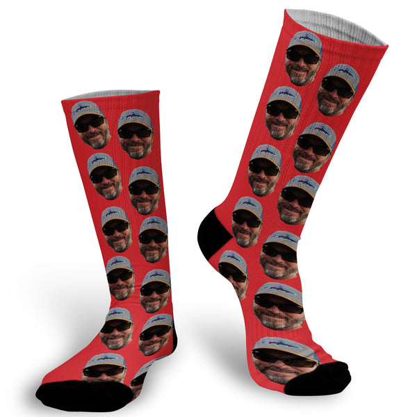 Red background with face Socks, Photo with Red background socks, Red Fun Face Socks, Face Socks, Picture on Red Socks