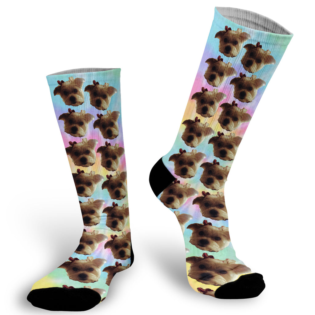 Tie-dye background with face Socks, Photo with Tie-dye background socks, Tie-dye Face Socks, Face Socks, Picture on Tie-dye Socks