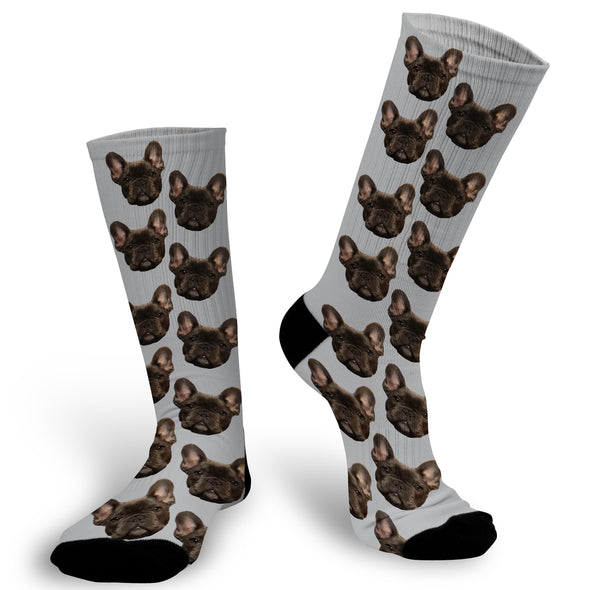 Face Socks with Grey Background, Pet Photo socks, Face Socks, Personalized Face Socks, Picture on Socks. Personalized Picture on a sock. Put your cat, dog, pet, self, loved ones picture on a pair of socks. photo socks are a fun way to showcase a friend, family member, loved one or pet on a sock! Simply, upload a photo and we will do the rest! , Customized Sock, Funny Socks, Socks with Sayings, Gift for Girlfriend, Gift Exchange idea