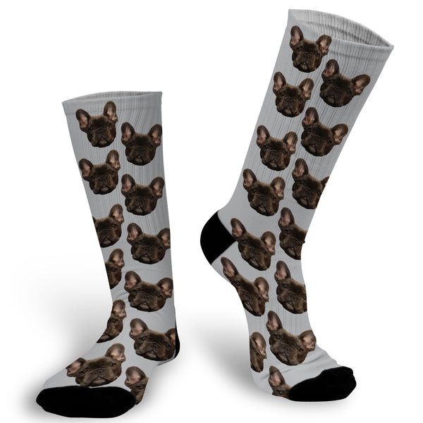Face Socks with Grey Background, Pet Photo socks, Face Socks, Personalized Face Socks, Picture on Socks