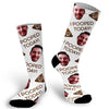 I pooped today, emoji, emoji socks, photo sock, photo socks, custom photo socks, face sock, face socks, funny socks, picture on sock, gag gift, stocking stuffer