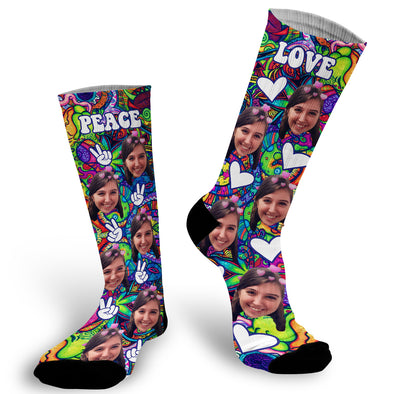 Photo socks are a fun way to showcase a friend, family member, loved one or pet on a sock, or just for some good old fashioned fun! Simply, upload a photo and we will do the rest! Custom Photo Socks, Love, Peace, Psychadelic, Picture on Socks, Stocking Stuffer, Funky Socks, Peace Sign, Hearts, Heart, Groovy Socks, Groovy