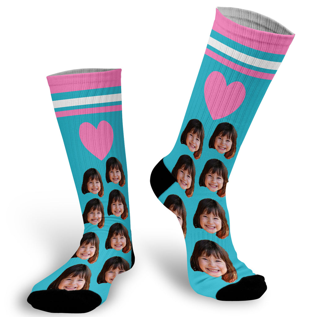 Blue Socks with Pink Heart and Stripe Fun Photo Socks, Photo on Blue With Pink stripes and heart background Socks, Face Socks, Personalized Face Socks, Picture on Blue background with Heart Socks
