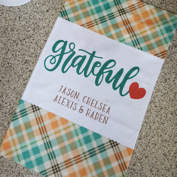 Grateful Towels, Kitchen Towels, Plaid Towels, Decorative Towels, Give Thanks Towels,