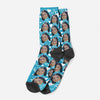 Blue Background White Hearts Face Socks, Valentines Day Socks, Fun Heart Socks, Custom Face Socks, Photo Socks