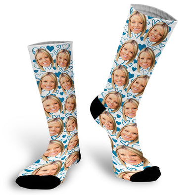 Blue Hearts Face Socks, Valentines Day Socks, Fun Heart Socks, Custom Face Socks, Photo Socks