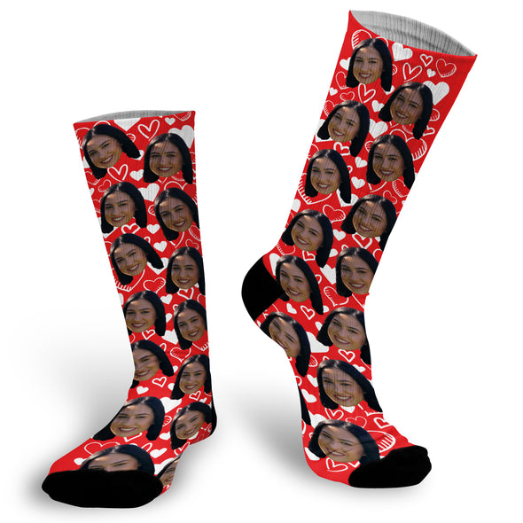 Red Face Socks with white hearts, Valentines Day Socks, Fun Red Heart Socks, Custom Face Socks, Photo Socks