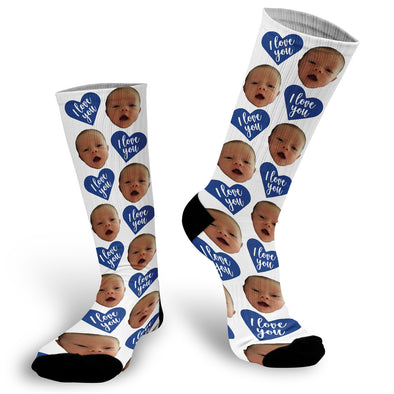 I Love You Blue Heart Valentine's Day Face Socks, Valentines Day Picture Socks, Heart Face Socks, Custom Face Socks, Photo Socks