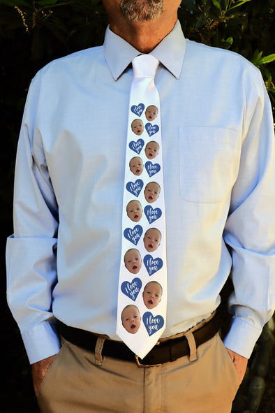 "Photo Tie, Father's Day Tie, Dad Tie, Custom Tie, Personalized Tie ""I Love You"""