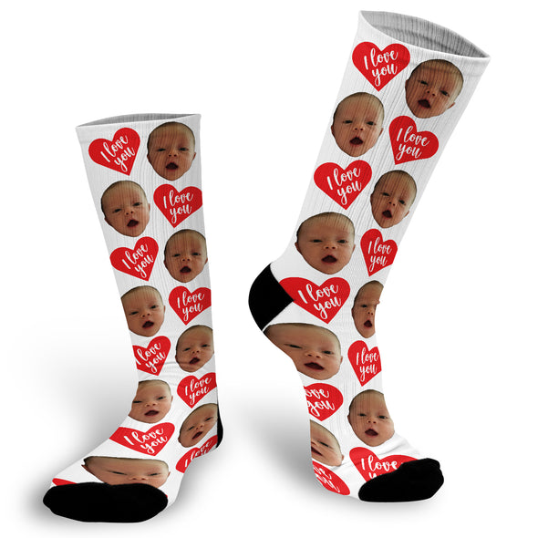 I Love You Red Heart Valentine's Day Face Socks, Valentines Day Picture Socks, Heart Face Socks, Custom Face Socks, Photo Socks