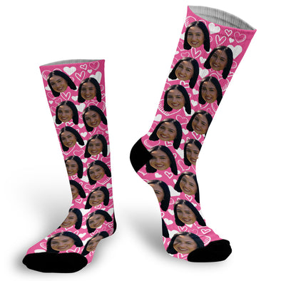 Pink Valentine's Day Face Socks, Valentines Day Picture Socks, Pink Heart Face Socks, Custom Face Socks, Photo Socks