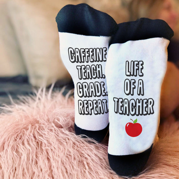 Caffeine, Teach, Grade, Repeat, Teacher Socks, Teacher Gift, Funny Teacher Gift
