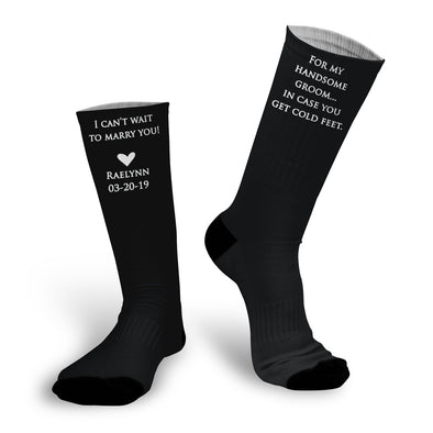Wedding Socks, In Case You Get Cold Feet Socks, Gift for Groom