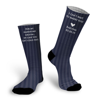 Wedding Socks, In Case You Get Cold Feet Socks, Gift for Groom Blue Stripes