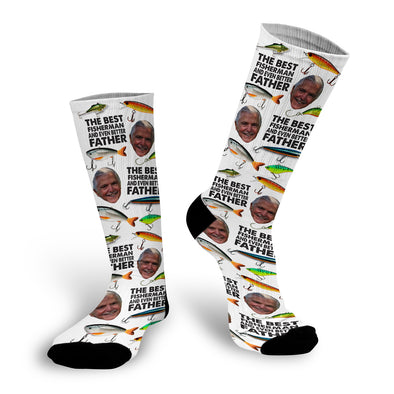 "Father's Day Face Socks, Father's Day Socks, Dad Socks, Custom Face Socks, Photo Socks ""Best Fisher"""