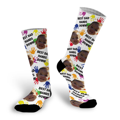 "Father's Day Face Socks, Father's Day Socks, Dad Socks, Custom Face Socks, Photo Socks ""Best Dad Hands Down"""