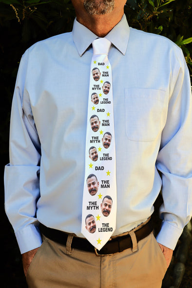 "Photo Tie, Father's Day Tie, Dad Tie, Custom Tie, Personalized Tie ""Man Myth Legend"""