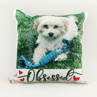 Reversible Sequin Photo Pillowcase , Rose Gold Sequin Pillowcase, Reversible Pillowcase with Pet Photo