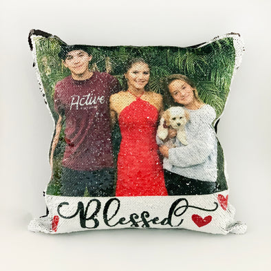 Reversible Sequin Photo Pillowcase, Rose Gold Sequin Pillowcase, Reversible Pillowcase with Family Photo