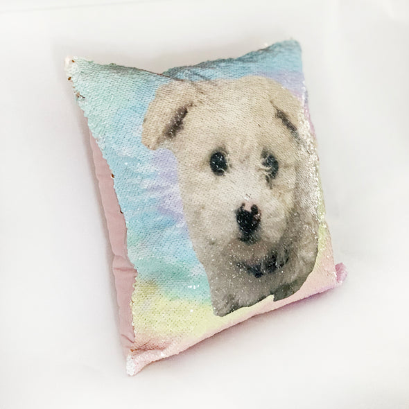 Reversible Sequin Tie Dye Pillowcase with Photo, Rose Gold Tie Dye Sequin Pillowcase with Photo, Reversible Pillowcase with Pet Photo