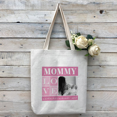 "Custom ""Mommy"" Tote Bag, Linen Bag, Personalized Tote Bag, Custom Bag, Personalized Linen Bag, Personalized Bag, Custom Photo Bag, Custom Picture Bag, Personalized Photo Bag"