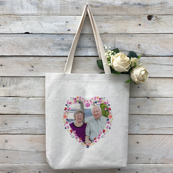 "Custom ""Floral Heart"" Tote Bag, Linen Bag, Personalized Tote Bag, Custom Bag, Personalized Linen Bag, Personalized Bag, Custom Photo Bag, Custom Picture Bag, Personalized Photo Bag"