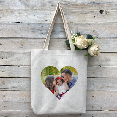 Custom Heart-Shaped Photo Tote Bag, Linen Bag, Personalized Tote Bag, Custom Bag, Personalized Linen Bag, Personalized Bag, Custom Photo Bag, Custom Picture Bag, Personalized Photo Bag